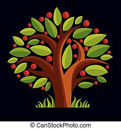Fruity tree with ripe apples isolated on white. Organic and eco food idea vector image.