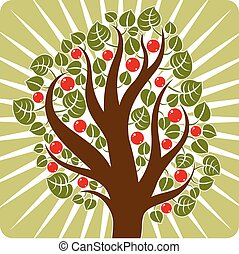 Fruity tree with ripe apples placed on stylized background. Organic and eco food idea vector image.
