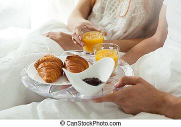 frukost, äta, säng