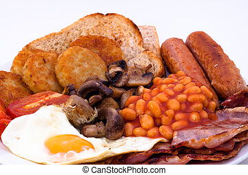 frukost, fyllda, engelsk