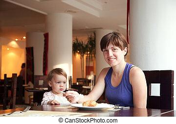 frukost, ha, restaurang, familj