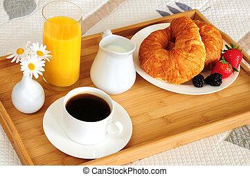 frukost, hotellrum, säng