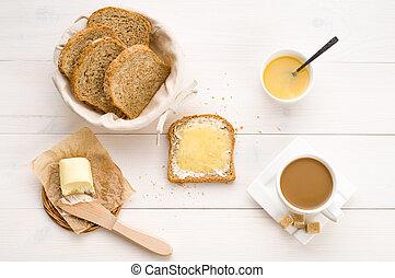 frukost, inklusive, bread, honung, smör, och, kaffe