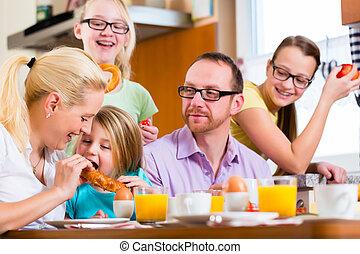 frukost, kök, tillsammans, familj, ha