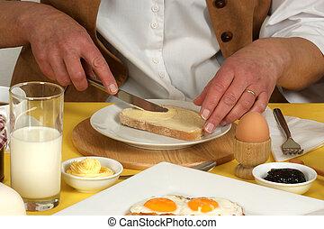 frukost, kvinna, ha, mogna, restaurang