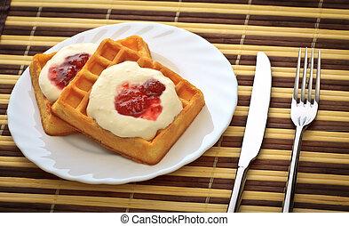 frukost, med, våfflor