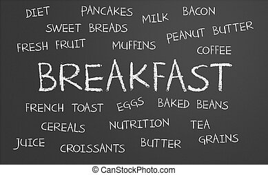 frukost, ord, moln