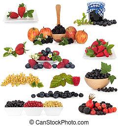 frukt, bär, kollektion