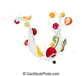 frukt, blanda, in, mjölk, plaska, isolerat, vita, bakgrund