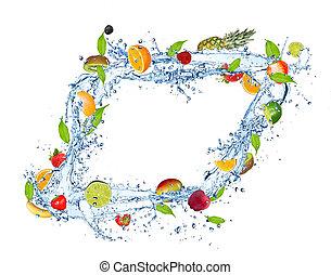 frukt, blanda, in, vatten, plaska, isolerat, vita, bakgrund