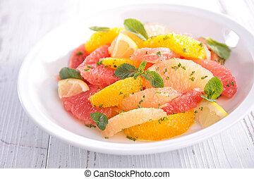 frukt, citronträd, sallad