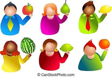 frukt, folk