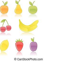 frukt, icons.