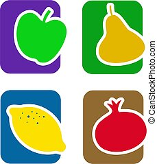 frukt, ikon, sätta
