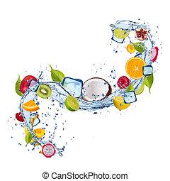 frukt, in, vatten, plaska, vita, bakgrund