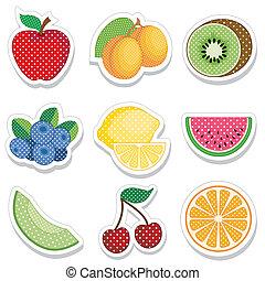 frukt, klistermärken, in, prickar