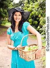 frukt, kvinna, ung, fruktträdgård