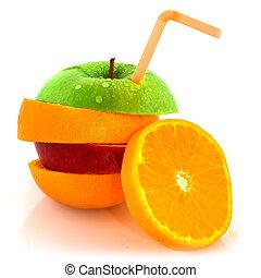 frukt, med, drickande sugrör