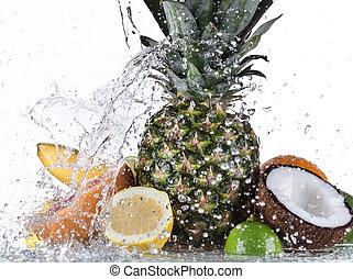 frukt, med, vatten, plaska
