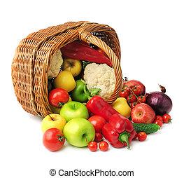 frukt, och, grönsak, in, korg