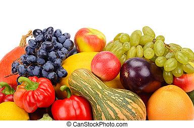 frukt, och, grönsak, isolerat, vita, bakgrund