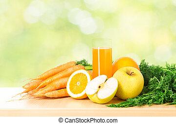 frukt, och, grönsak juice, in, glas, över, grön, frisk, bakgrund., hälsosam, vitamin, mat, kost, concept.