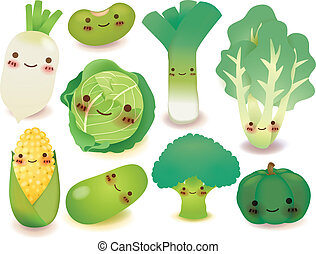 frukt, och, grönsak, kollektion