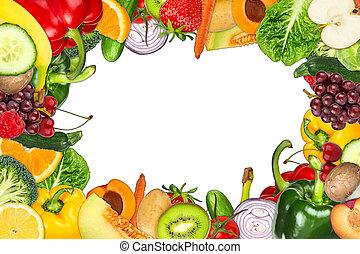 frukt, och, grönsak, ram