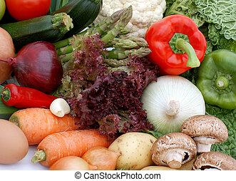 frukt, och, grönsak