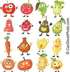 frukt, och, grönsaken, med, ansikte
