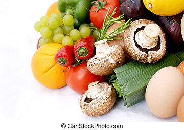 frukt, och, grönsaken