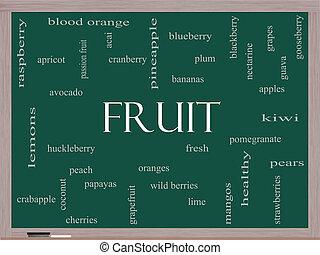 frukt, ord, moln, begrepp, på, a, blackboard