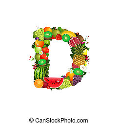 frukt, saftig, brev, d