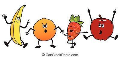 frukt, tecknad film, dansande
