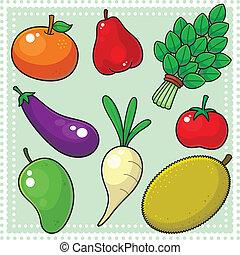 frukter, 02, grönsaken, &