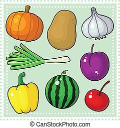 frukter, 04, grönsaken, &