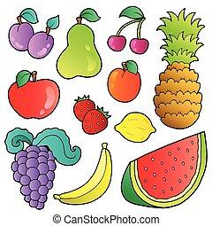 frukter, avbildar, kollektion