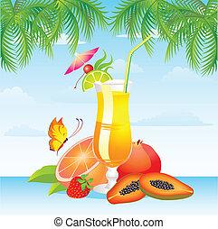 frukter, cocktail, med, frukter