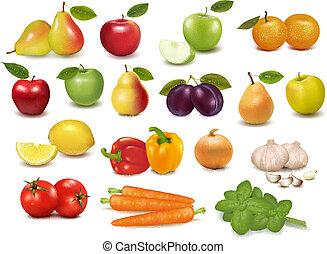 frukter, kollektion, stor