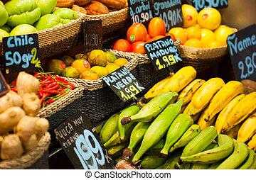 frukter, marknaden, in, la, boqueria, berömd, salutorg