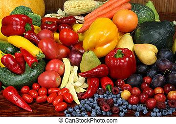 frukter, och, vegetables.