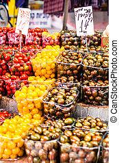 frukter och vegetables, hos, a, bönder marknadsför