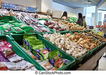 frukter och vegetables, hos, marknaden
