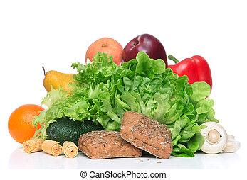 frukter och vegetables, kost, viktförlust, morgon, frukost, begrepp