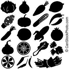 frukter, vektor, silhuett, grönsak