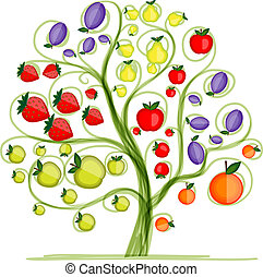 fruktträd, för, din, design