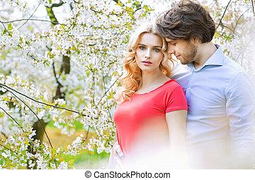 fruktträdgård, spenderande, par, gift, fritid