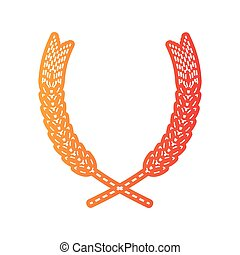 frumento, illustration., isolated., segno, applique, arancia