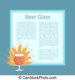 frumento, isolato, illustrazione, vetro, birra, orecchie