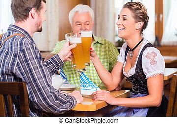frumento, ristorante, bavarese, persone, birra, bere